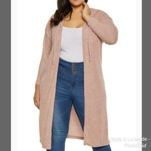 Tops - Hooded Brushed Knit Duster